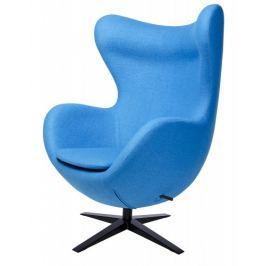 Fotel EGG SZEROKI BLACK niebieski.6 - wełna, podstawa czarna