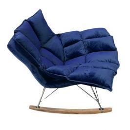 Fotel bujany Swing Velvet (ciemnoniebieski) KingHome