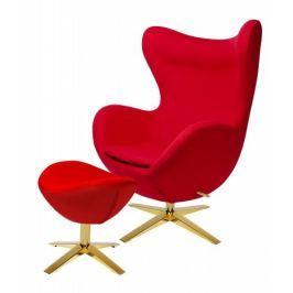 Fotel EGG SZEROKI GOLD z podnóżkiem czerwony.1- wełna, podstawa złota