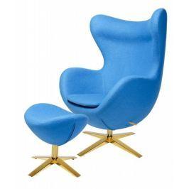 Fotel EGG SZEROKI GOLD z podnóżkiem niebieski.6 - wełna, podstawa złota